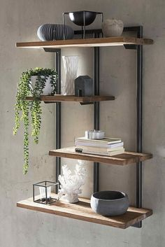 Stylish wall shelf made of teak old wood and metal in modern industrial and loft design. You can find more shelves and furnishing ideas on # hanging rule # bookshelf wandregal Wall Hanging Shelves, Wood Wall Shelf, Wall Shelves Design, Wood And Metal Shelves, Wall Shelving, Shelving Ideas, A Shelf, Steel Furniture, Living Room Furniture