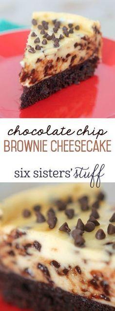 This Chocolate Chip Brownie Cheesecake Recipe is absolutely AMAZING! (Brownie Cheesecake Recipes)