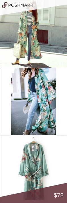 Amazing Boho Vintage Vibe Floral Long Duster Coat The pictures do not do this duster jacket justice, it is so pretty.  You must have this in your life.  It's a osfm piece.  Brand new Jackets & Coats Capes