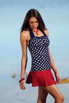 Ruched halter Nautical Blue Red Dots by Divine ModesTee - Luxe Beat Magazine