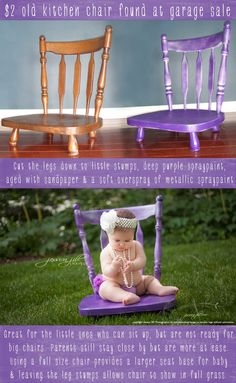 Cut the legs off an old chair for babies to sit for cute pictures. Jessica Jill Photography: baby prop chair from garage sale. -- I actually have an old chair with a broken leg I could do this with! Diy Foto, Foto Fun, Children Photography, Newborn Photography, Kids Studio Photography, Photography Ideas Kids, Chair Photography, Birthday Photography, Photography Backdrops