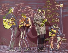 "Street Players, July 2012. 4 figures playing music in the park on burgundy paper. 24.75 x 19"" (63 x 48 cm) framed in rustic white with ivory mat. $595 plus shipping."
