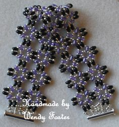 Image detail for -the bracelet is made using twin beads in black and lilac
