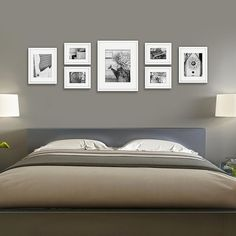 Gallery Solutions 7 Piece Wall Frame Set – White - Home Decor Wall Frame Set, Gallery Wall Layout, Frame Gallery, Photo Wall Layout, White Photo Frames, Photo Frames On Wall, Bedroom Pictures, Bedroom Layouts