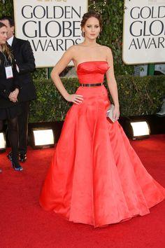 jennifer lawrence  red dress golden globes 2013