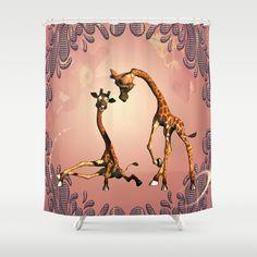 Funny giraffe Shower Curtain by Funny Giraffe, Curtains, Cartoon, Shower, Prints, Home Decor, Rain Shower Heads, Blinds, Decoration Home