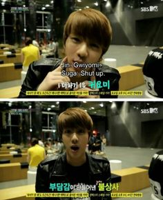 lol XD BTS, Jin trying to be cute and Suga shutting him up