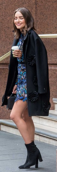 39a9a1f86e5a6 Olivia Culpo:: Coat – Victoria Beckham Collection Dress – Self Portrait  Shoes – Aquatalia Purse – Aspinal of London