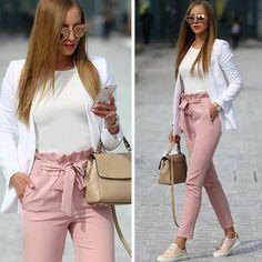 Pantalons longue avec noeud papillon ceinture taille haute mode élégant rose femme - Pantalon - Bas