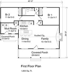 1000 sq ft house plans | bedrooms 2 baths square feet 1191