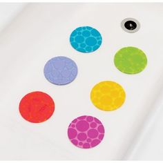 6 Pack Textured Grippy Dots Bathtub Toy by Munchkin. $9.55. 1432814338 Features: -Grippy Dots.-6 Textured tub grips help prevent slipping in the tub.-White Hot - tells you when the water is too hot.-Strong suction grip base. Color/Finish: -Fun, bright colors make them easy for toddlers to see at the bottom of the tub.