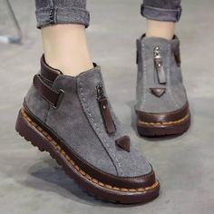 Women's Shoes,Boot,Womens New Style Chelsea Platform Flat Bottom Martin Ankle Boots Flat Heel Boots, Ankle Boots, Boot Over The Knee, Winter Stil, Fall Winter, Estilo Hippie, Vintage Boots, Vintage Lace, Short Boots