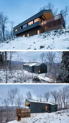 naturehumaine have designed the Bolton Residence, a house on a sloped site surrounded by woodlands in Quebec, Canada.