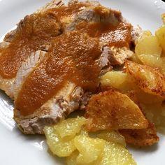 Cinta de lomo en pieza con salsa y patatas en #FC7Smart #FussionCook Carne, French Toast, Breakfast, Garlic, Onion, Potatoes, Recipes, Oil, Bay Leaves