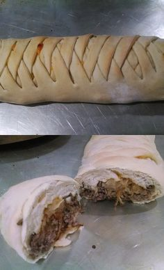 Pers~ a~Natalie: Cheeseburger Stromboli Cheeseburger Stromboli Recipe, Meatloaf Muffins, Beef Recipes For Dinner, Hamburger Recipes, Calzone, Mini Muffins, Casserole Recipes, Hot Dog Buns, Beans