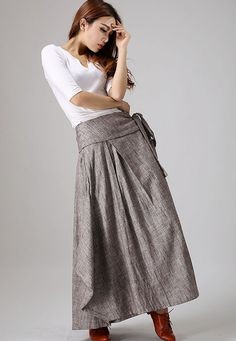 * Made from soft linen fabric * wrap skirt  * side button closure  * tie belt waist  * Maxi pleated skirt  * Regular fit * More color and Choise *
