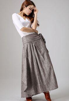casual linen skirt woman wrap skirt custom made long skirt in gray (872)