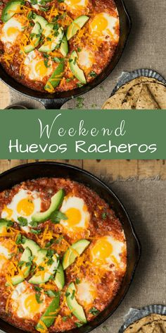 Weekend Huevos Rancheros to Please a Brunch Crowd: soft eggs nestled in a smoky, chipotle- spiced tomato sauce under a cover of melted Cheddar. The sauce can be made a day ahead of time, just to the point before you add the eggs. If you are lucky enough t Mexican Breakfast Recipes, Breakfast Dishes, Mexican Dishes, Breakfast Time, Brunch Recipes, Mexican Food Recipes, Vegetarian Recipes, Cooking Recipes, Mexican Brunch