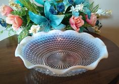 Moonstone Opalescent Bowl with Crimped Edge - Clear and White Glass Hobnail Bowl - Anchor Hocking - Vintage Collectible Dinnerware by ClassyVintageGlass on Etsy Vintage Dinnerware, Anchor Hocking, Pie Dish, Serving Bowls, Plates, Dishes, Tableware, Unique Jewelry, Etsy