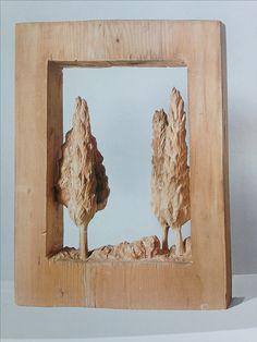 santo cinalli  foresta 2013 legnodi cedro 70 x 53 x12 cm