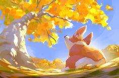 Fall - by Lynn Chen Pretty Art, Cute Art, Animal Drawings, Art Drawings, Illustration Art, Illustrations, Environment Concept Art, Environmental Art, Pics Art