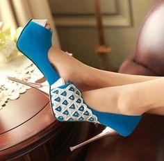 blue amazing high heels