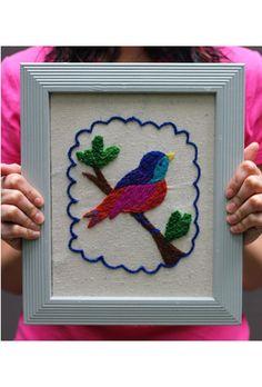 DIY Crewel Embroidery Kit - Jeweled Bird