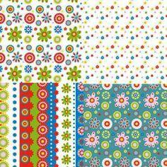 Kids - Tissus - Jardin - Set de 8 carrés de 15 x 15 cm