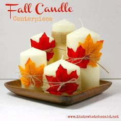 Create an easy fall candle centerpiece for next to nothing! Great for your mantle or Thanksgiving day table! Candles, a charger and some leaves!