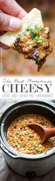 The BEST Cheesy Chili Dip - made with a homemade taco seasoning and NO Velveeta - just simple homemade cheese sauce! So good! #chilicheesedip #cheesychilidip #chilidip | Littlespicejar.com