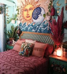 Sun And Moon Tapestry, Wall Tapestry, Hippy Room, Deco Boheme, Aesthetic Bedroom, Awesome Bedrooms, Dream Rooms, My New Room, Bohemian Decor