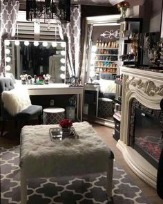 Beautiful small closet room with hollywood glam style vanity mirror, fur chair and full length mirror