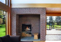 Modern Residential Architecture: Cozy Fireplaces Korman House by Louis Kahn