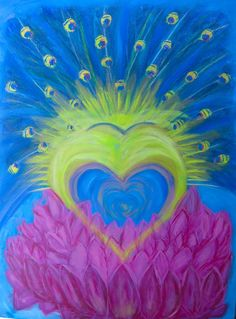 Heart~ Lotus and  Peacock and the bird.  acrylics on canvas