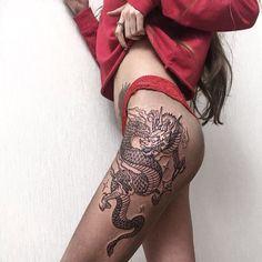 tattoos for women arms birds - Tattoo Thinks Badass Tattoos, Sexy Tattoos, Body Art Tattoos, Girl Tattoos, Sleeve Tattoos, Tattoo Girls, Tatoos, Dragon Thigh Tattoo, Dragon Tattoo For Women