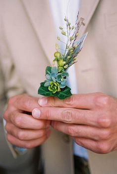 A simple eucalyptus flower boutonniere. (Photo by Shelly Kroeger Photography)