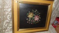 Vintage Tapestry Needlepoint Roses Floral Design Wall Hanging Wood Gold Frame by FabulousFinds1 on Etsy