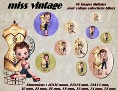 """80 images collage digital pour cabochons """"miss vintage"""" : Cabochon par miss-coopecoll"""