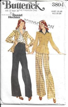 Butterick 3804; Young Designer: Daniel Hechter - MISSES' JACKET & PANTS https://etsy.me/2uV2hp2 #supplies #sewing #butterickpattern #straightlegpants #papersewingpattern #vintagesewing #1970spattern #womenssewing #