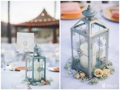 Lantern centerpieces. I found these at Pier 1 Imports.
