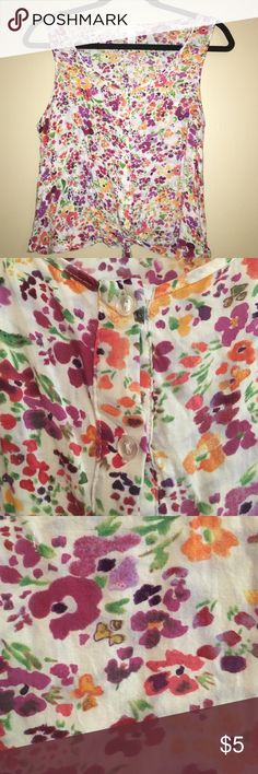 Pink, yellow, orange floral tank top 🌞 Size large (runs small, would fit a size small)                🌞 Brand: Ambiance Apparel.                                     🌞Good condition.                                                                🌞Ties at bottom Ambiance Apparel Tops Tank Tops