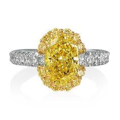 Robert Pelliccia Oval Fancy Yellow Diamond Ring