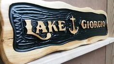 """Carved nautical sign for a Lake George waterfront Cabin 11""""×36""""!"""