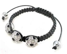 Black Crystal Soccer Ball Charm Adjustable Bracelet Fashion Jewelry PammyJ Bracelet. $17.99. LEAD AND NICKEL COMPLIANT. COMES IN FOIL GIFT BOX. ONE SIZE FITS ALL. SPARKLING RHINESTONES. SOCCER SHAMBALLA BRACELET