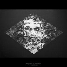 by Laura Norinkevičiūtė (www.laphotto.com) #stories #pasakojimai #laphotto #bw #black #white #portrait #psychedelic #glitch #modern #photography #frame #rhombus #graphic