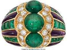 Estate Jewelry:Rings, Emerald, Diamond, Amethyst, Gold Ring, Bvlgari, French. ...