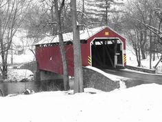A covered bridge in Warwick Township, Lancaster County, Pennsylvania.