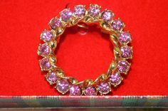 "Vintage ""Gerry's"" Fuchsia Rhinestone Round Brooch Pin Fall Jewelry NEW WITH TAG #Gerrys #Roundvintagejewelry"