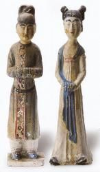 Tang Dynasty. Two women attendants from the tomb of Zheng Rentai.