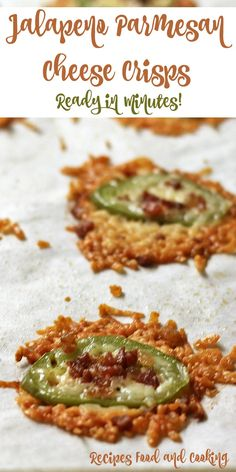 Jalapeno Parmesan Cheese Crisps Grated Parmesan Cheese with jalapeno slices topped with bacon bits.